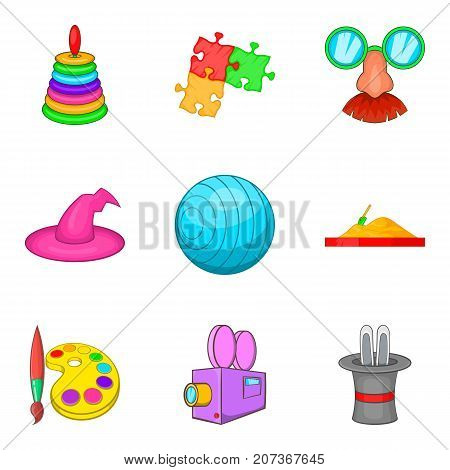 Children show icons set. Cartoon set of 9 children show vector icons for web isolated on white background