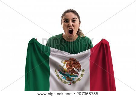 Mexican female fan holding the national flag isolated