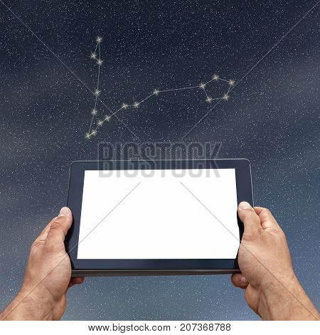 Astrology, Horoscope, Technology And People Concept. Pisces Constellation. Zodiac Sign