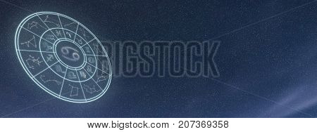 Light Symbols Of Zodiac And Horoscope Circle, Cancer Constellation