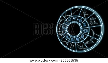 Light Symbols Of Zodiac And Horoscope Circle, Astrology And Mystic Signs