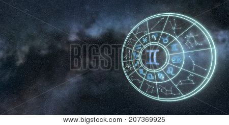 Light Symbols Of Zodiac And Horoscope Circle, Gemini Zodiac Sign