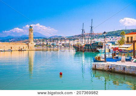 Old Venetian harbor of Rethimno, Crete, Greece poster