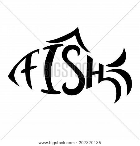 Hand drawn lettering Fish. Vector illustration. Isolated on whote background.