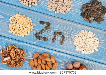 Products Containing Zinc And Dietary Fiber, Healthy Nutrition Concept