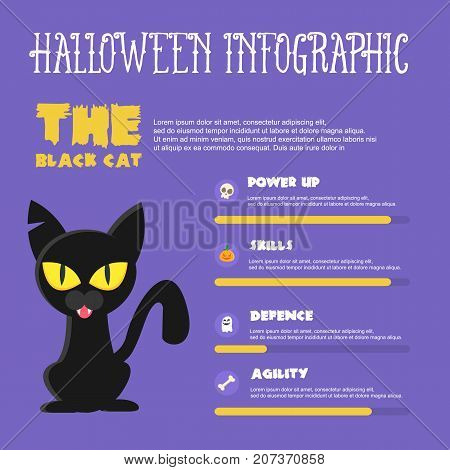 Halloween Style Infographic Vector Illustration Collection Stock