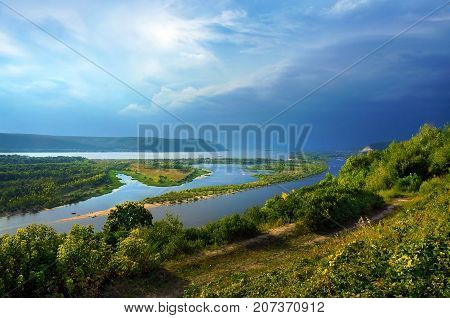 Viewing point overcast skies on river Volga the city of Samara