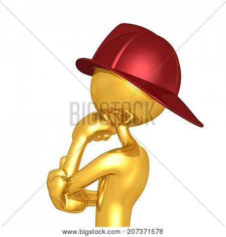 The Original Fireman 3D Character Illustration In Contemplation