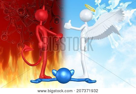 Thumbs Down Devil Thumbs Up Angel Over A Deceased Person The Original 3D Characters Illustration