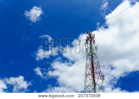 Telecommunication Tower For Radio Wave Or Mobile Cellular With Beautiful Clear Blue Sky And Little C