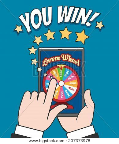 Online spin roulette gaming vector illustration. Fortune wheel game banner for online-casino