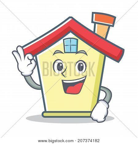 Okay house character cartoon style vector illustration