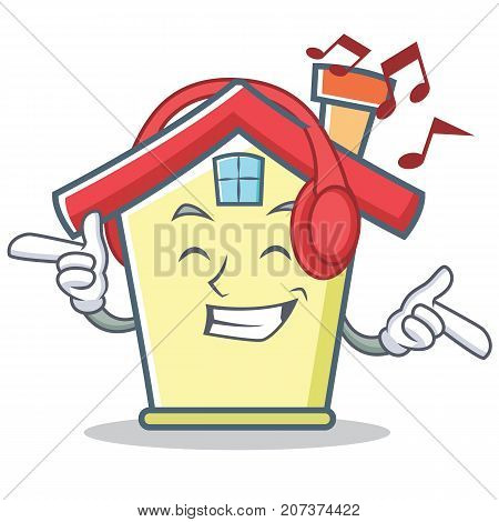 Listening music house character cartoon style vector illustration