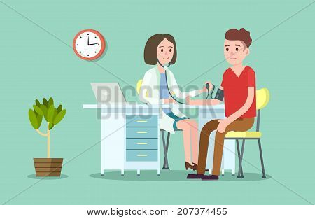 Doctor and patient measuring blood pressure. Medical treatment and healthcare poster, modern clinical analysis and treatment, medical diagnostic tests. Doctor visit in clinic vector illustration