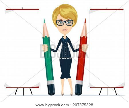 Beautiful young woman writing on copy space with pencil. Isolated on white. Stock Vector illustration