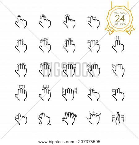 Gesture hand set of multi touch line icon for touch screen devices, tablet, touchpad or mobile, simple finger symbol to swipe, scroll, tap, zoom, push. Vector illustration (Editable Stroke)