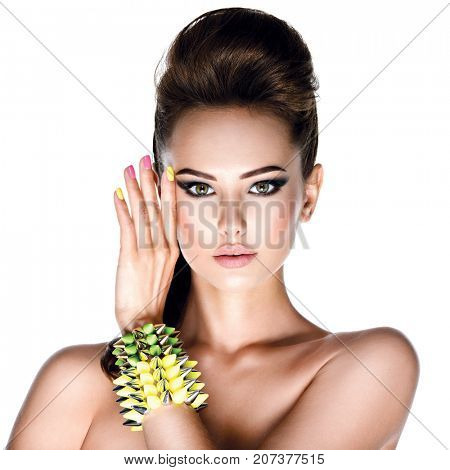 Beautiful fashion model with studded bracelet