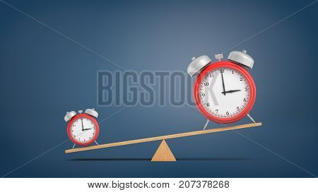 3d rendering of a seesaw with a heavier small red alarm clock and a lighter big clock on dark blue background. Spending time carefully. Importance of time. Save your time.