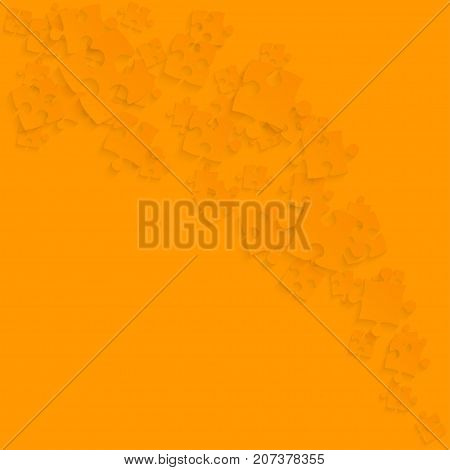Orange Puzzles Pieces Square - Vector Illustration. Scattered Smoke Jigsaw Puzzle Blank Template. Vector Background.