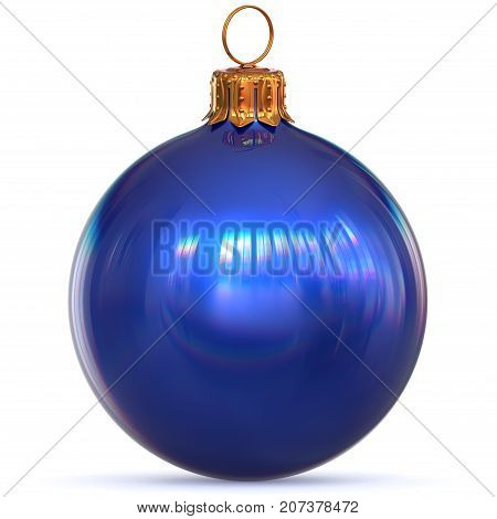 Christmas ball decoration blue New Year's Eve bauble hanging adornment traditional Happy Merry Xmas wintertime ornament polished closeup. 3d rendering illustration