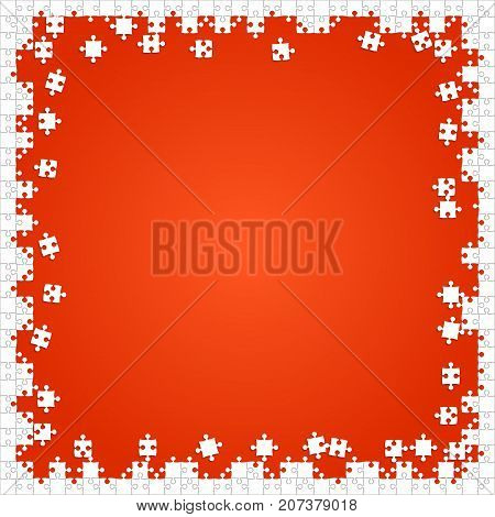 Frame White Puzzles Pieces Arranged in a Orange Square - Vector Illustration. Scattered Jigsaw Puzzle Blank Template. Vector Background.
