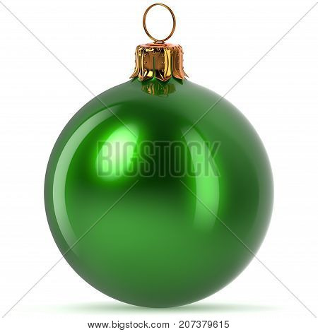 Christmas ball decoration green Happy New Year's Eve hanging bauble adornment traditional Merry Xmas wintertime ornament polished closeup. 3d rendering illustration