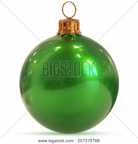 New Year's Eve bauble hanging adornment traditional Happy Merry Xmas wintertime ornament polished excellent sparkling. 3d rendering illustration