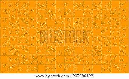 112 Orange Puzzles Pieces Arranged in a Square - Vector Illustration. Jigsaw Puzzle Blank Template or Cutting Guidelines. Vector Background.