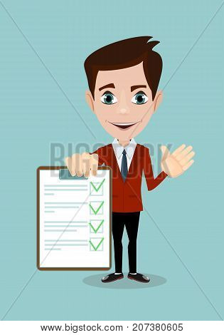 Businessman hands holding clipboard checklist in a flat design. Stock vector illustration.