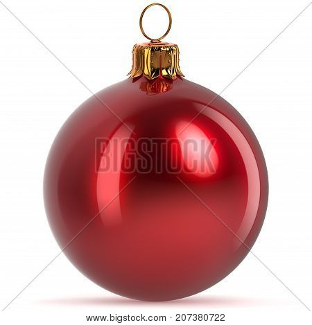 Christmas ball decoration red closeup Happy New Year's Eve hanging bauble adornment traditional Merry Xmas wintertime ornament polished. 3d rendering illustration