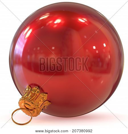 Christmas ball red decoration New Year's Eve hanging bauble adornment traditional Happy Merry Xmas wintertime ornament polished closeup. 3d rendering illustration