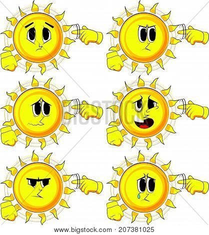 Cartoon sun shows a you're nuts gesture by twisting his finger around his temple. Collection with sad faces. Expressions vector set.