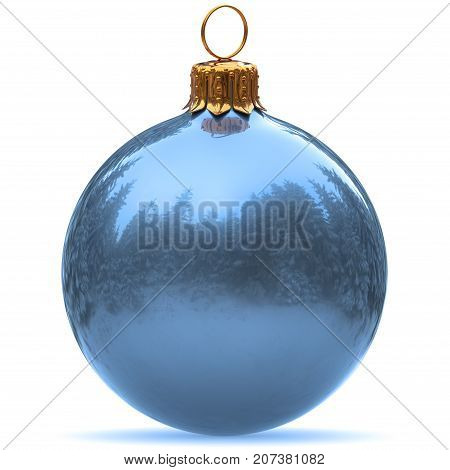 Christmas ball decoration light blue closeup Happy New Year's Eve bauble hanging adornment traditional Merry Xmas wintertime ornament. 3d rendering illustration