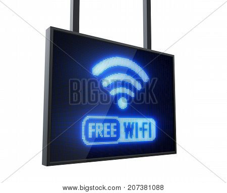 Free Wi-Fi led sign isolated on white background - 3D Rendering