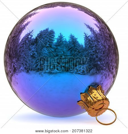 Christmas ball decoration blue closeup Happy New Year's Eve hanging adornment bauble traditional Merry Xmas wintertime ornament polished. 3d rendering illustration