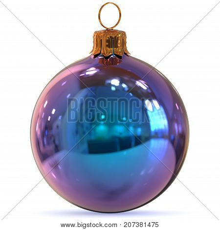 Christmas ball decoration blue closeup Happy New Year's Eve hanging bauble adornment traditional Merry Xmas wintertime ornament polished. 3d rendering illustration