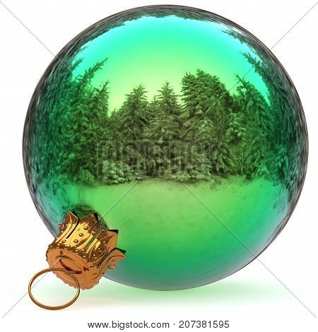 Christmas ball green decoration closeup Happy New Year's Eve hanging bauble adornment polished traditional Merry Xmas wintertime ornament. 3d rendering illustration