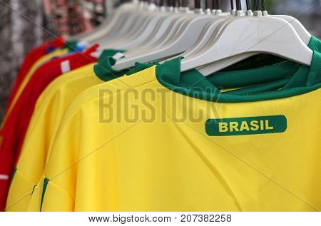 Many T-shirt With Text Brasil In The Shop