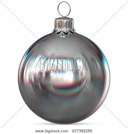 Christmas ball silver decoration closeup New Year's Eve bauble hanging adornment traditional Happy Merry Xmas wintertime ornament white chrome polished. 3d rendering illustration