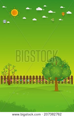 Gardening. Banner with summer garden landscape. tree flower bushes wood fence and lawn. Flat style vector illustration.