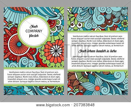 Brouchure design template for company with colorful floral ethnic pattern with leaves and swirls, vector illustration