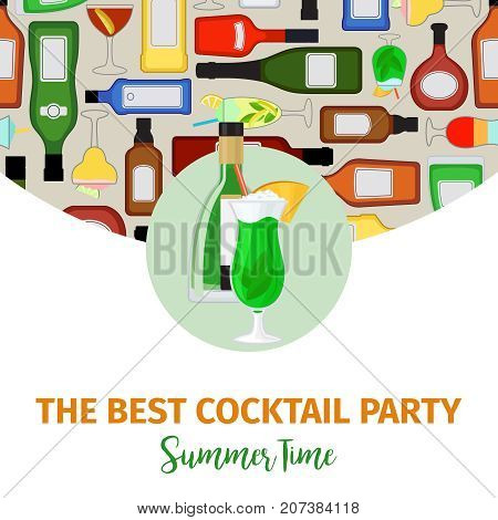 Banner for cocktail party with absinthe bottle and cocktail, vector illustration
