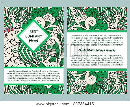 Brouchure design template for company with outline swirls and decorative elements in green and white colors, vector illustration