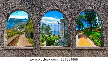 Collage from views of Capri, beautiful and famous island in the Mediterranean Sea Coast, Naples. Italy. Capri island through old stone arches