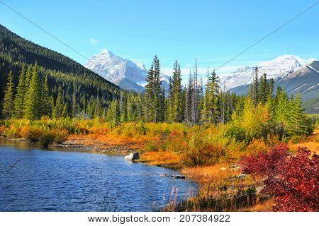 Scenic autumn landscape in Canadian Rockys at Kananaskis trail