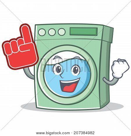 Foam finger washing machine character cartoon vector illustration