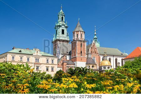 Krakow Poland Wawel Castle is shrouded in the sun
