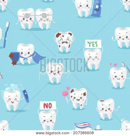 Tooth character personage dental clinic mascot with a toothbrush smiling different human pose vector illustration. Implantology healthcare seamless pattern background