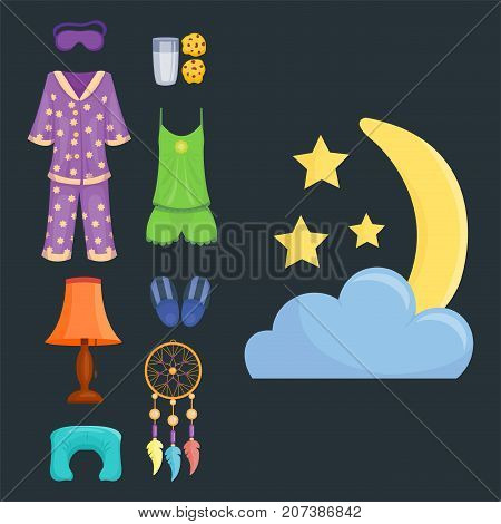 Sleep icons moon set pillow clock dream healthy lifestyle. Bedroom rest star human collection sleep icons. Sleep time icons flat set isolated vector illustration.