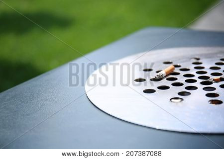 Modern trash bin, closeup. Concept of environment preservation